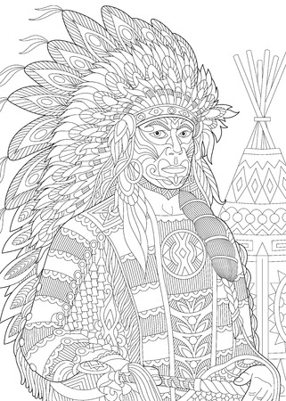 redskin: Stylized red indian chief (redskin man) wearing traditional headdress. Freehand sketch for adult anti stress coloring book page with doodle and zentangle elements.