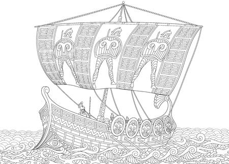 Gestileerde oude Griekse keuken (oorlogsschip) met mast, zeil, riemen en krijgers met speren en schilden. Uit de vrije hand schets voor volwassen anti-stress kleurboek pagina met doodle en zentangle elementen.