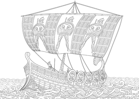 Stylized ancient greek galley (warship) with mast, sail, oars and warriors with spears and shields. Freehand sketch for adult anti stress coloring book page with doodle and zentangle elements. Vettoriali