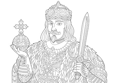 Stylized king (prince or royal lord) in a crown holding scepter and sword, isolated on white background. Freehand sketch for adult anti stress coloring book page with doodle and zentangle elements.