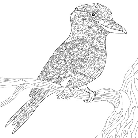 Stylized australian kookaburra bird, isolated on white background. Freehand sketch for adult anti stress coloring book page with doodle and zentangle elements.