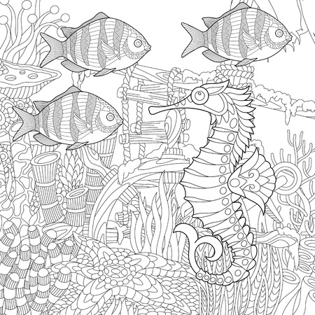 Stylized composition of tropical fish, seahorse, underwater seaweed, corals and starfish. Freehand sketch for adult anti stress coloring book page with doodle and zentangle elements.