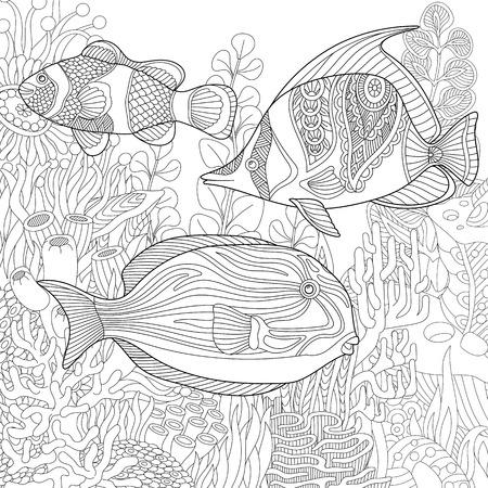 Stylized composition of tropical fish, underwater seaweed and corals. Freehand sketch for adult anti stress coloring book page with doodle and zentangle elements.