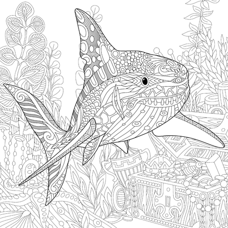 silhouette contour: Stylized underwater composition of shark, seaweed, corals and treasure chest full of gold. Freehand sketch for adult anti stress coloring book page with doodle and zentangle elements. Illustration