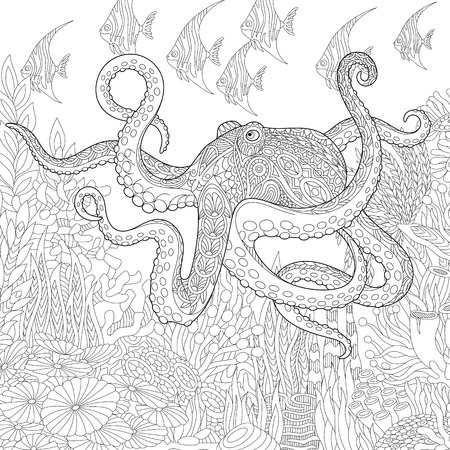 black giant: Stylized composition of giant octopus, tropical fish, underwater seaweed and corals. Freehand sketch for adult anti stress coloring book page with doodle and zentangle elements.