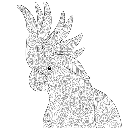 Stylized cockatoo (kakadu) parrot, isolated on white background. Freehand sketch for adult anti stress coloring book page with doodle and zentangle elements.