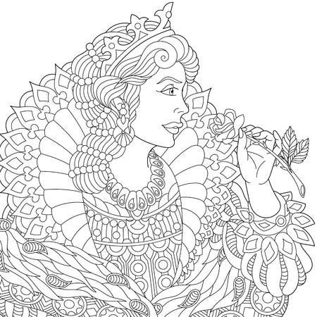 Stylized young beautiful queen (princess) in a crown is holding rose flower. Freehand sketch for adult anti stress coloring book page with doodle and zentangle elements. Illustration