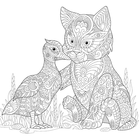 Stylized cute friends cat (young kitten) and duck (mallard) embracing each other. Freehand sketch for adult anti stress coloring book page with doodle and zentangle elements. Illustration