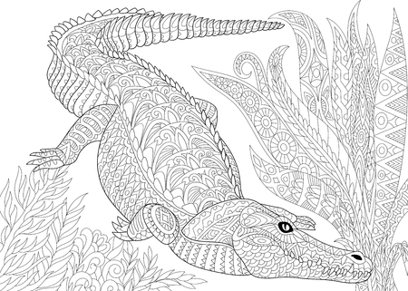 creeping plant: Stylized cartoon crocodile (alligator), jungle foliage. Freehand sketch for adult anti stress coloring book page with doodle and zentangle elements.