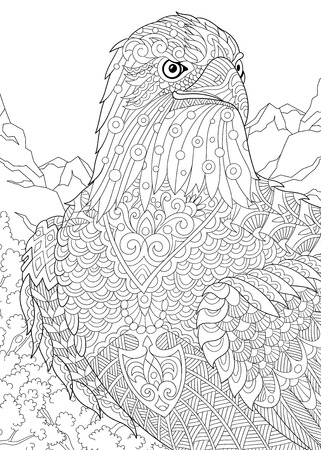 Stylized eagle (hawk, falcon, osprey) among prairie mountains. Freehand sketch for adult anti stress coloring book page with doodle and zentangle elements.