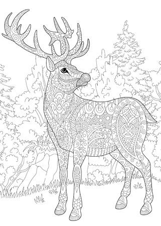 Gestileerde herten (hert, bok, kerstmis rendieren) onder boslandschap. Uit de vrije hand schets voor volwassen anti-stress kleurboek pagina met doodle en zentangle elementen.