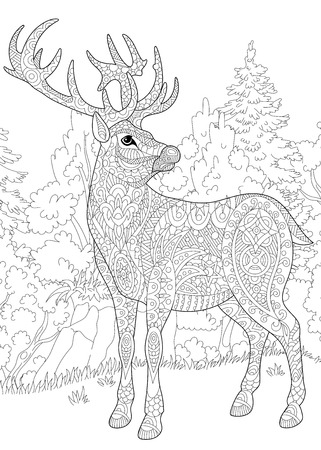 Stylized deer (stag, buck, christmas reindeer) among woodland landscape. Freehand sketch for adult anti stress coloring book page with doodle and zentangle elements.