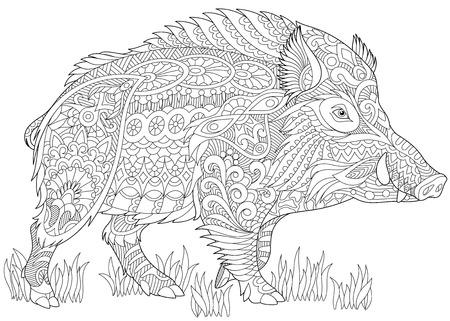 jabalí estilizada (jorobado, jabalí, cerdo). boceto a mano alzada para la pintura con el estrés página contra adultos libro con Doodle y del zentangle. Ilustración de vector