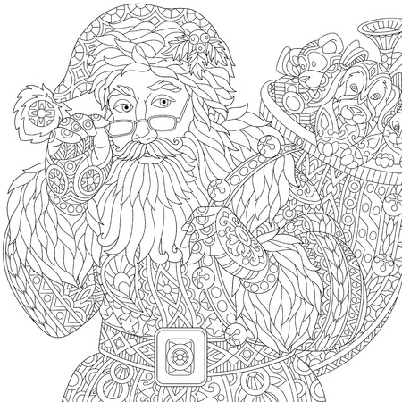 Stylized christmas Santa Claus with bag full of gift toys, isolated on white background. Freehand sketch for adult anti stress coloring book page with doodle and zentangle elements.