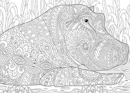 Gestileerde nijlpaard (nijlpaard) zwemmen onder waterlelies (lotusbloemen) en vijveralgen. Freehand schets voor volwassen anti stress kleur boek pagina met doodle en zentangle elementen. Stock Illustratie