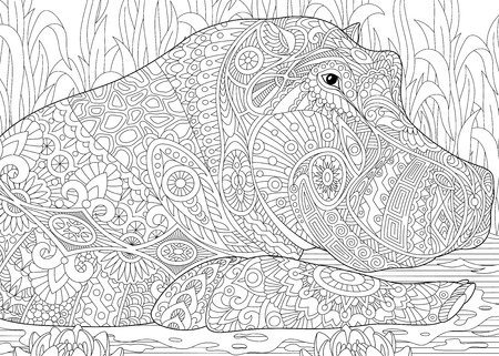 Stylized hippopotamus (hippo) swimming among water lilies (lotus flowers) and pond algae. Freehand sketch for adult anti stress coloring book page with doodle and zentangle elements. Illustration