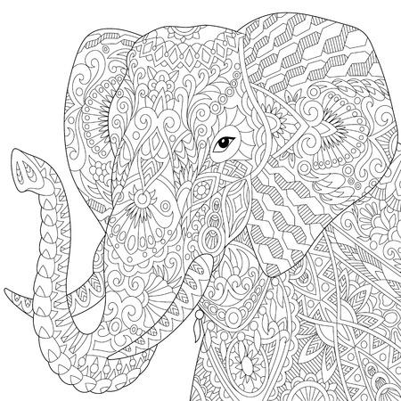 Gestileerde olifant, geïsoleerd op een witte achtergrond. Freehand schets voor volwassen anti stress kleur boek pagina met doodle en zentangle elementen.