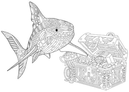 Stylized underwater shark and treasure chest full of gold. Freehand sketch for adult anti stress coloring book page with doodle and zentangle elements. Ilustração