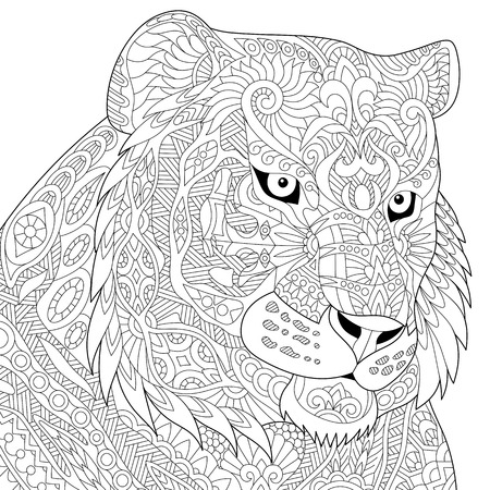tiger page: Stylized tiger (lion, wildcat), isolated on white background. Freehand sketch for adult anti stress coloring book page with doodle and zentangle elements. Illustration