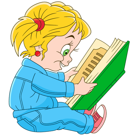 genial: Cute and happy cartoon preschool baby girl is reading, isolated on white background. Childish vector illustration and colorful book page for kids.