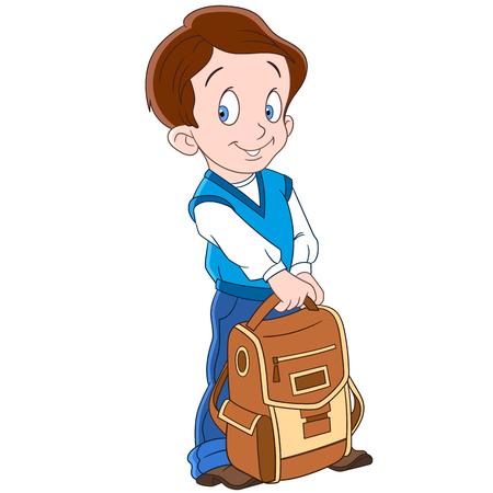 zapatos caricatura: colegial lindo y feliz con un morral de la escuela, aislado sobre fondo blanco. Ilustración infantil y la página de libro colorido para los niños.