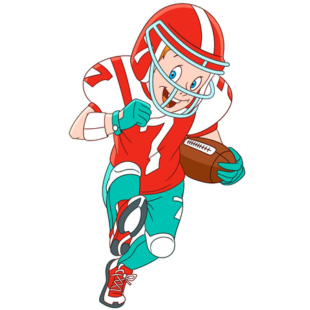rapidity: Cute and happy cartoon boy playing rugby (american football), isolated on white background. Childish vector illustration and colorful book page for kids.