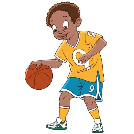 cute cartoon kids: Cute and happy cartoon boy playing basketball, isolated on white background. Childish vector illustration and colorful book page for kids. Illustration