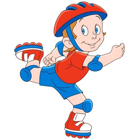 Leuke en gelukkige cartoonjongen roller skating, geïsoleerd op een witte achtergrond. Kinderlijke vector illustratie en kleurrijke boek pagina voor kinderen.