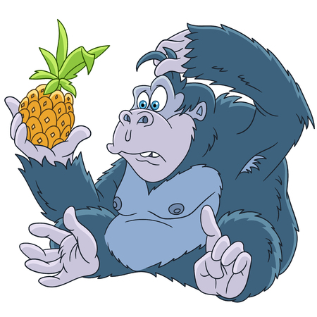 rey caricatura: Cute and funny cartoon gorilla with pineapple, isolated on white background. Childish vector illustration and colorful book page for kids.