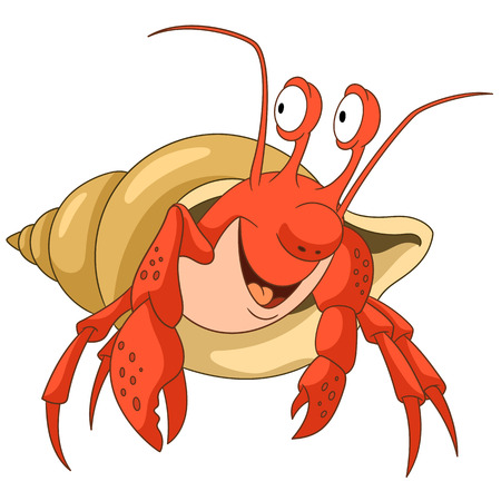 Cute and happy cartoon hermit crab with a shell, isolated on white background. Childish vector illustration and colorful book page for kids. Illustration