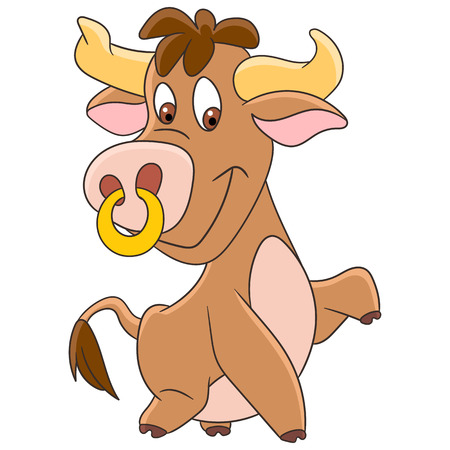 Cute and happy cartoon american bull (buffalo, ox, bison), isolated on white background. Childish vector illustration and colorful book page for kids.
