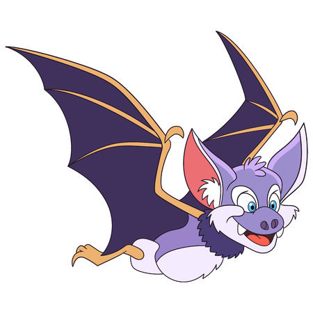 Cute and happy cartoon halloween bat, isolated on white background. Childish vector illustration and colorful book page for kids. Illustration