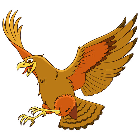 Cute cartoon eagle bird (hawk, condor, falcon), isolated on white background. Childish vector illustration and colorful book page for kids. Illustration