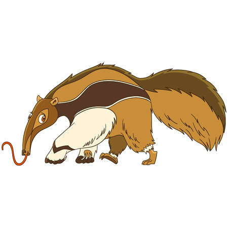 Cute and funny cartoon anteater animal, isolated on white background. Childish vector illustration and colorful book page for kids.