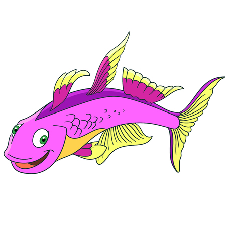 Cartoon furcata fish, isolated on white background. Childish vector illustration and colorful book page for kids.