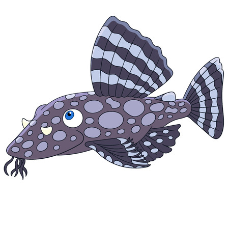 Cartoon catfish fish, isolated on white background. Childish vector illustration and colorful book page for kids.