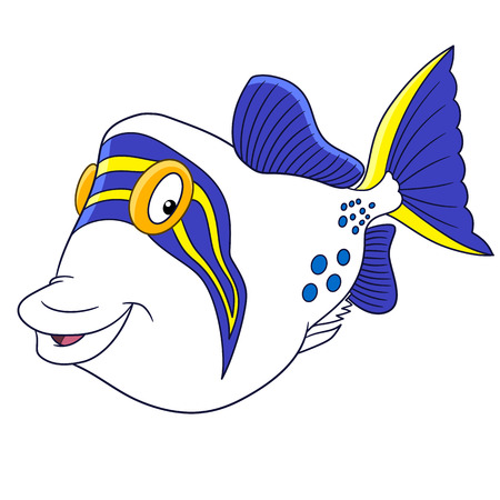 Cartoon triggerfish (trigger fish), isolated on white background. Childish vector illustration and colorful book page for kids.