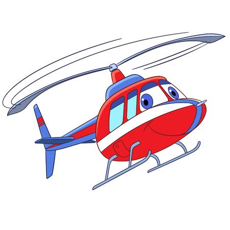 Transporte del vuelo de la historieta. Helicóptero, aislado en fondo blanco. Ilustración vectorial infantil y página de libro colorido para los niños.