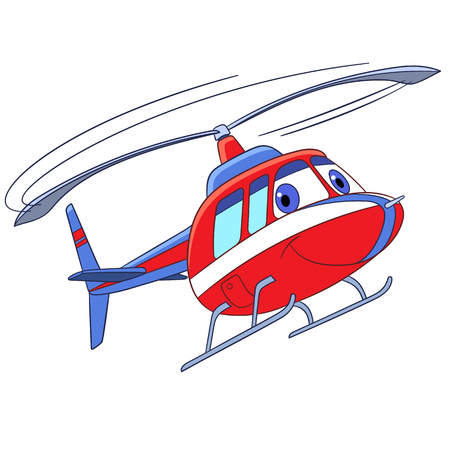 Cartoon flying transport. Helicopter, isolated on white background. Childish vector illustration and colorful book page for kids.