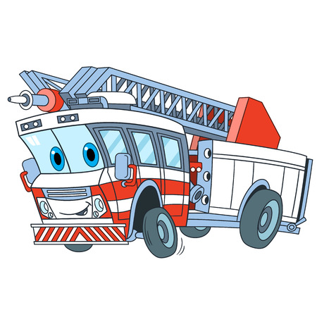 Cartoon emergency transport. Fire truck, isolated on white background. Childish vector illustration and colorful book page for kids.  イラスト・ベクター素材