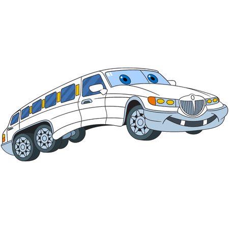 limo: Cartoon vehicle transport. White limousine car (limo), isolated on white background. Childish vector illustration and colorful book page for kids.