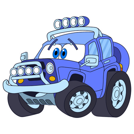 jeep: Cartoon vehicle transport. High speed off-road  car, isolated on white background. Childish vector illustration and colorful book page for kids.