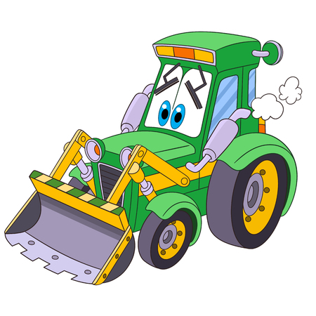 Cartoon vehicle transport. Tractor (bulldozer), isolated on white background. Childish vector illustration and colorful book page for kids.