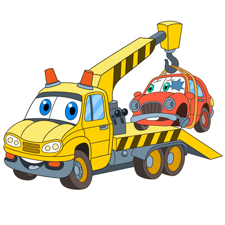Cartoon vehicle transport. Tow truck (evacuator) with a broken car, isolated on white background. Childish vector illustration and colorful book page for kids. Vettoriali