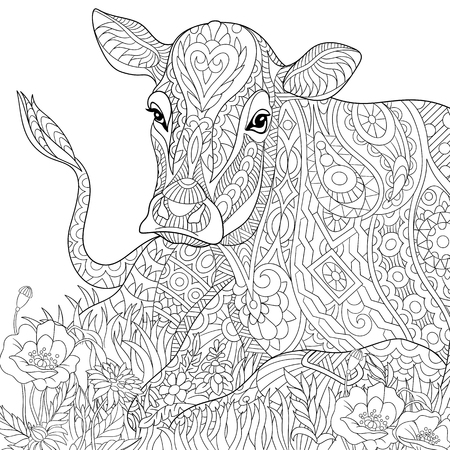 ox eye: Stylized cartoon cow, isolated on white background. Freehand sketch for adult anti stress coloring book page with doodle and zentangle elements.