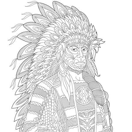 redskin: Stylized cartoon North American Indian chief (redskin man), isolated on white background. Freehand sketch for adult anti stress coloring book page with doodle and zentangle elements.