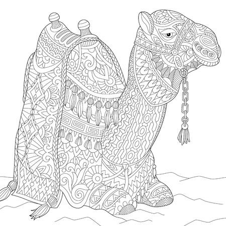 Gestileerde cartoon kameel, geïsoleerd op een witte achtergrond. Freehand schets voor volwassen anti stress kleur boek pagina met doodle en zentangle elementen.