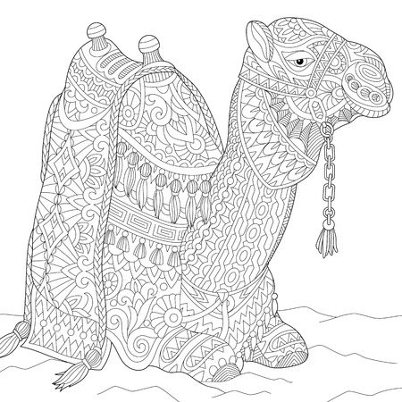 Stylized cartoon camel, isolated on white background. Freehand sketch for adult anti stress coloring book page with doodle and zentangle elements.
