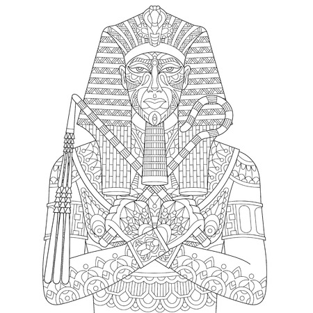 Stylized cartoon ancient egyptian pharaoh, isolated on white background. Freehand sketch for adult anti stress coloring book page with doodle and zentangle elements.