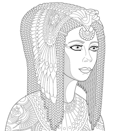 cleopatra: Stylized cartoon ancient egyptian queen Cleopatra (Nefertiti), isolated on white background. Freehand sketch for adult anti stress coloring book page with doodle and zentangle elements.